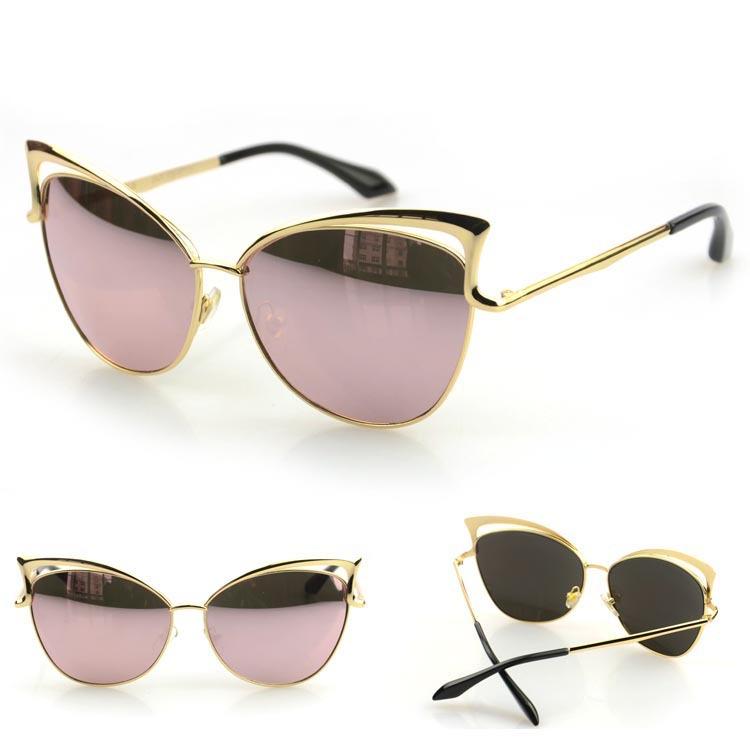 New Fashion 2015 Cat Eyes Vintage Sunglasses Women Brand Designer Metal Frame Glasses  oculos de sol feminino(China (Mainland))