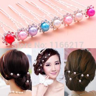 100 pcs Bridal Hair Accessories Tiaras Hair Pins Lady's Rhinestone Bridal Wedding Flower Pearls Crystal Headband Hair Clip Pins(China (Mainland))