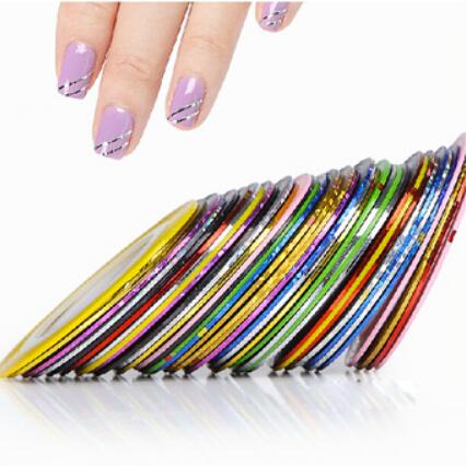 New 10 Pcs Mixed Colors Nail Rolls Striping Tape Line DIY Nail Art Tips Decoration Sticker Nails Care Sticker(China (Mainland))