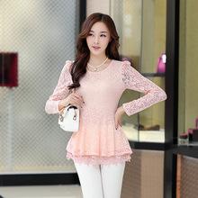 Korean Version Of The New Women's Spring 2015 Long Sleeved Shirt Sleeve Slim Slim Bud Bottoming Shirt One Generation(China (Mainland))