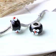 Retail Black Flower Murano Bead 925 Silver GLASS BEAD fit Pandora European Bracelet & Necklaces RL-22