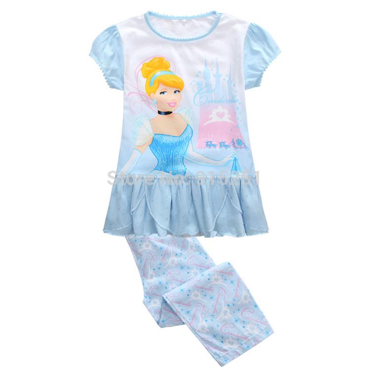2015 spring summer girls Cinderella sleep set Pajamas set sleepwear girl homewear cartoon costumes kids(China (Mainland))