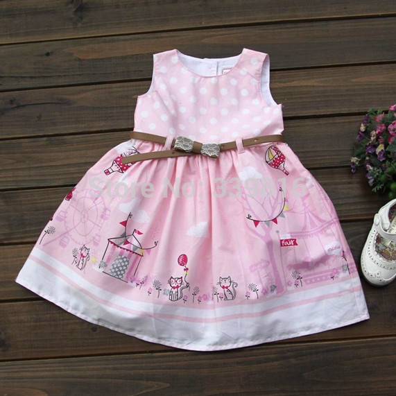 12M-3T Size 2015 New Arrival Baby/Toddler Girl's Pink Cartoon Handpainted Summer Dress with Waistband for Children, Good Quality(China (Mainland))