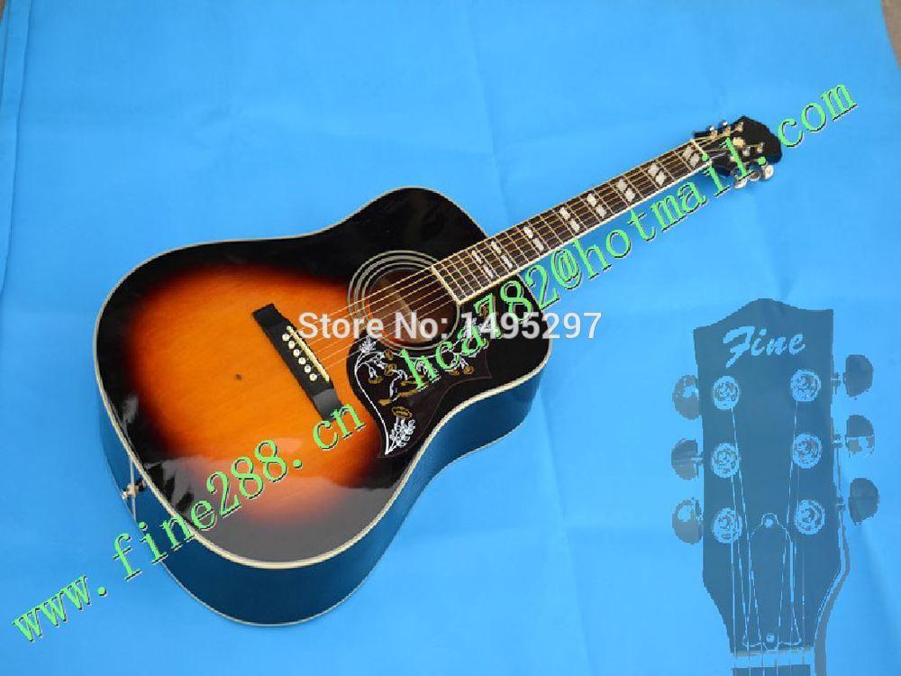 high qualiy thin neck and body hummingbird sunburst color acoustic guitar chrome hardware free shipping F-11695(China (Mainland))