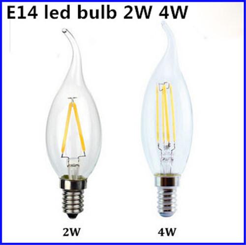 1 x Superior Quality Led Filament Bulb E14 2W/4W Glass Cover COB Lamp 110V/120V 220V/240V 85-265V LED bulbs White/Warm white(China (Mainland))