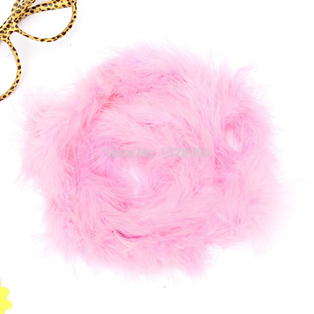 Hot!! Freeshipping 4 Meters/Lot Pink marabou feather boas for DIY accessory, hats,crafts(China (Mainland))
