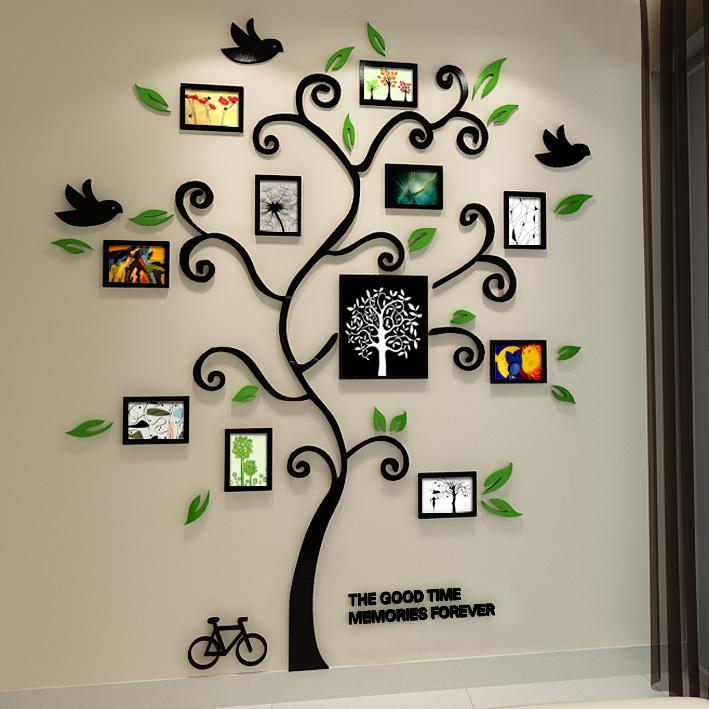 New 2015 Crystal happy tree Acrylic Three-dimensional frame tree wall stickers Bardroom 3d photo Wall Sofa wall decorative(China (Mainland))