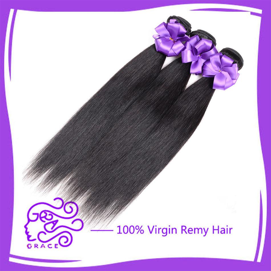 5A Hot Grace Hair Chinese Straight Virgin Hair Cheap Hair Bundles 3 Pcs Natural Black Short Unprocessed Chinese Hair Extensions(China (Mainland))