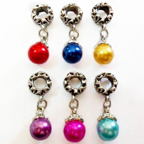 with Venetian Pearl Charm Pendant Bead Fit Pandora Bracelet Free Shipping 1Pc Silver Bead Charm