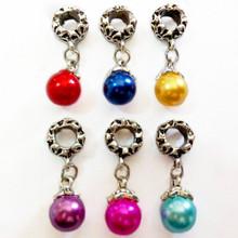 with Venetian Pearl Charm Pendant Bead Fit Pandora Bracelet Free Shipping 1Pc Silver Bead Charm European Silver