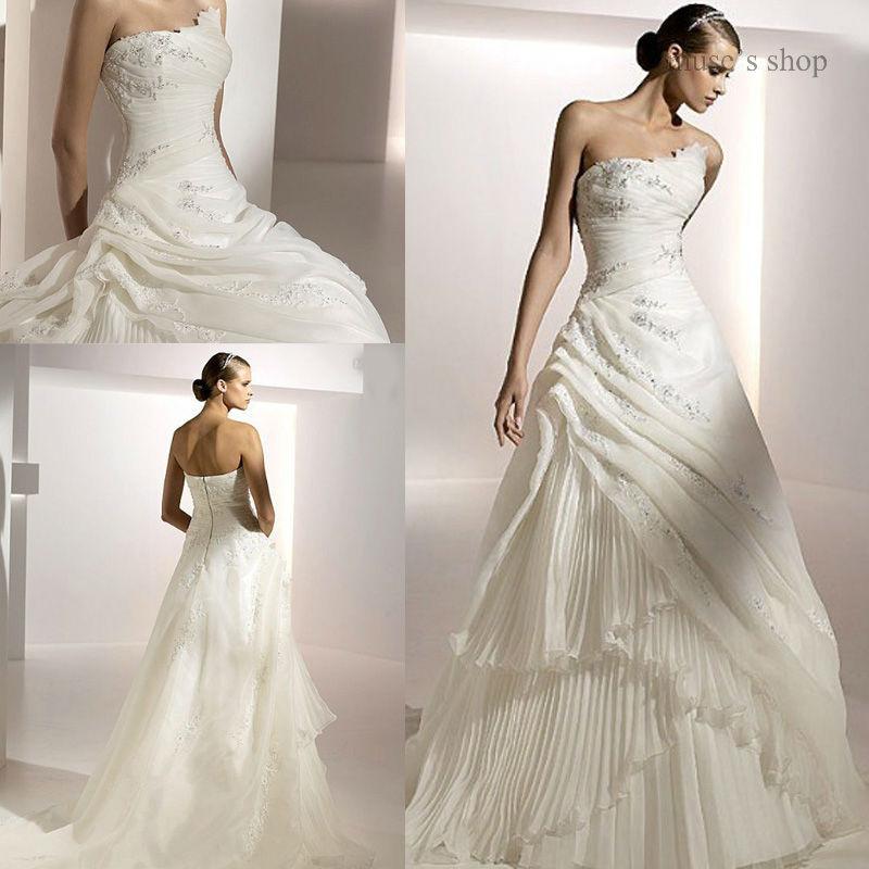 Elegant Strapless Sleeveless Appliques Pleat A-line Organza Long Train Wedding Dresses Free Shipping(China (Mainland))
