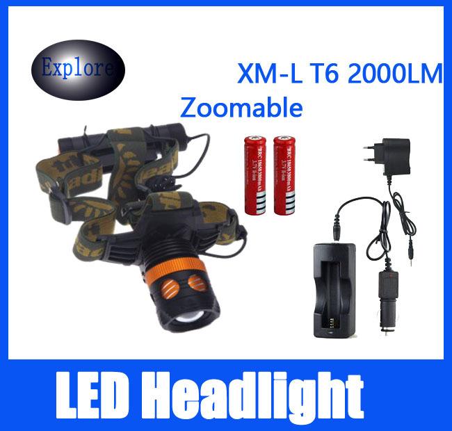 Cree-xml T6 из светодиодов 2000LM 3 режима из светодиодов аккумуляторная фара фара водонепроницаемый головной свет охота лампы + 2 * 18650 + зарядное устройство sitemap 93 xml