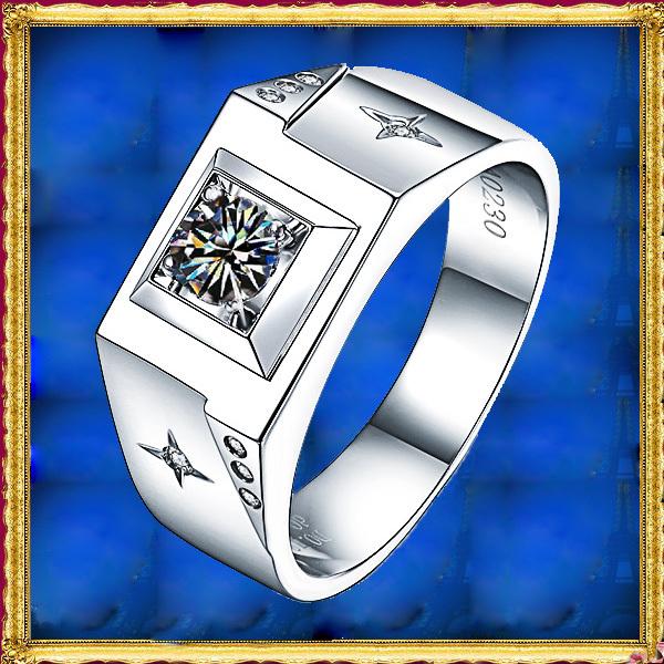 Mens Jewelry 18K White Gold Synthetic Diamond 0.18Carat Engagement Wedding Band Guard Matching Men Ring(China (Mainland))