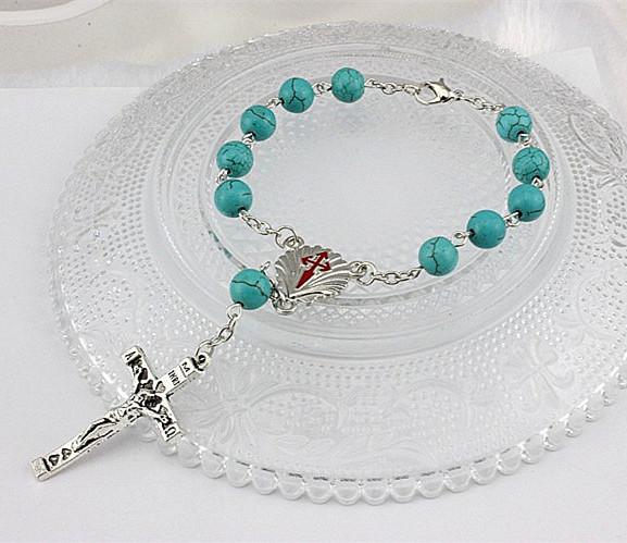 New Fashion Turquoise Rosary Bead Jesus Bracelet Silver Cross Retro Christian Charm Strand Bracelets Women Girls Womens Jewelry(China (Mainland))