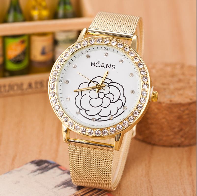 Classic Women Quartz Wristwatch Elegant Flowers Stainless Steel Net Web Mesh Band Strap Rhinestone Watches(China (Mainland))