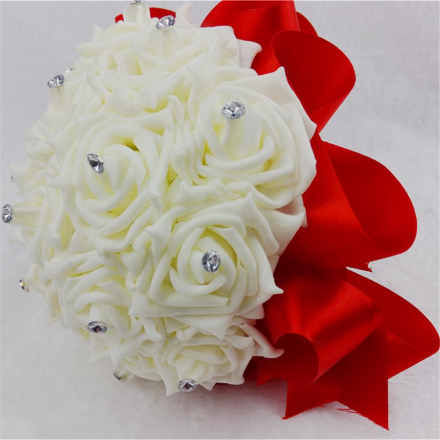 Cheap Wedding Accessories Silk PE Rose Flower Red Wedding Bouquet