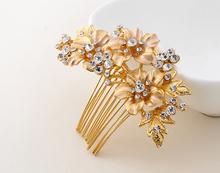 Gold plated Luxury Rhinestone Bridal Hair Combs Hairpin Wedding Hair Accessories