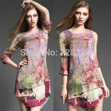 2015 Spring Fashion  Women's Clothing 100% Vintage 3D Print 100% Silk Three quarter sleeve Summer DRESS Party Dresses Summer