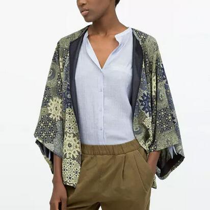 New Fashion Ladies Vintage Totem Print Kimono Outwear Batwing Sleeve Plus Size Loose Cape Coat Cardigan Casual Chiffon Brand Top(China (Mainland))