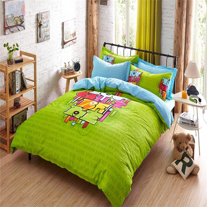 2015 Wholesale Hot Car Covers Colcha de Cama Bed Children Underwear Quilt Cover Set Green Bedlinen 100% Cotton Bedding Set(China (Mainland))