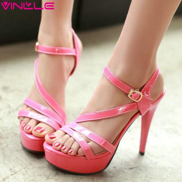 VINLLE 2015 Women fashion sandals high heel platform sexy open toe women shoes black pink red white yellow size 34-39(China (Mainland))