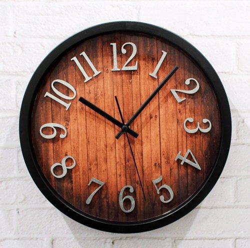 European Retro Wall Clock 3d Imitation Wood Grain(China (Mainland))