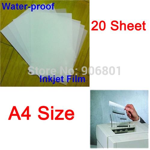 20 Sheet/Set A4 Waterproof Mil Inkjet Printer Transparency Film Paper Screen Printing FT-100 Printing Super Transfer Film(China (Mainland))