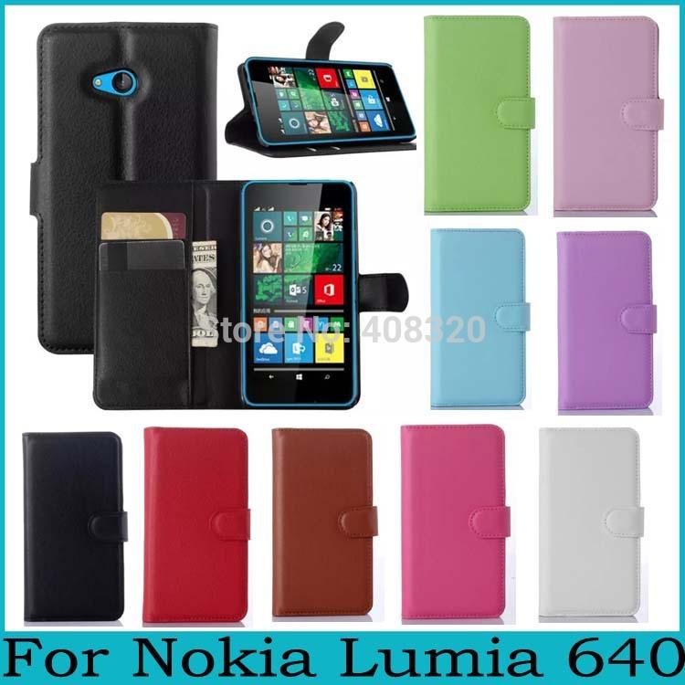 For Nokia Lumia 640 Case For Lumia 640 High Quality Horizontal Wallet Flip PU Leather Case For Nokia Lumia 640 9 Colors Option(China (Mainland))