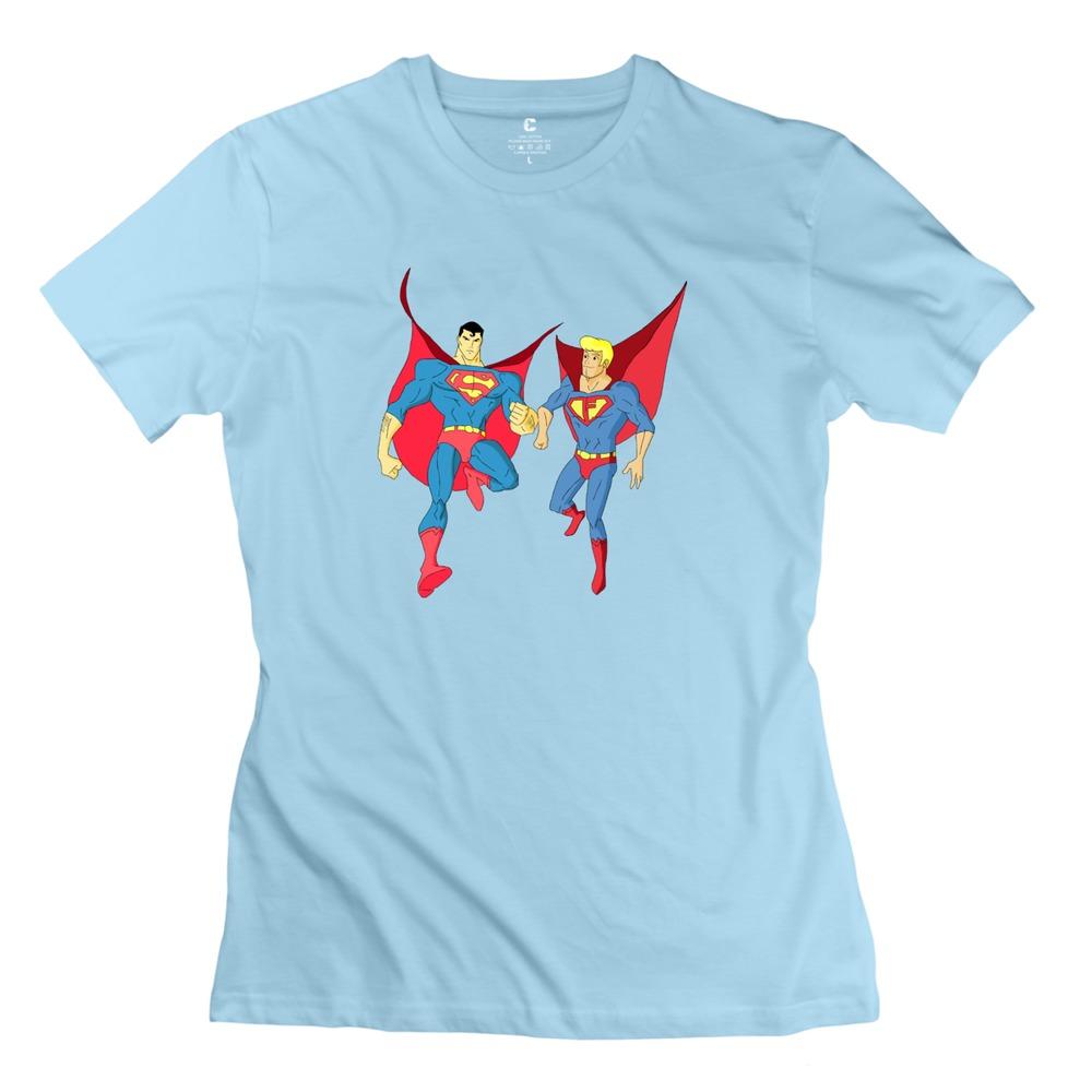 brand new fred and superman women tshirt customized 100% cotton shirts men(China (Mainland))