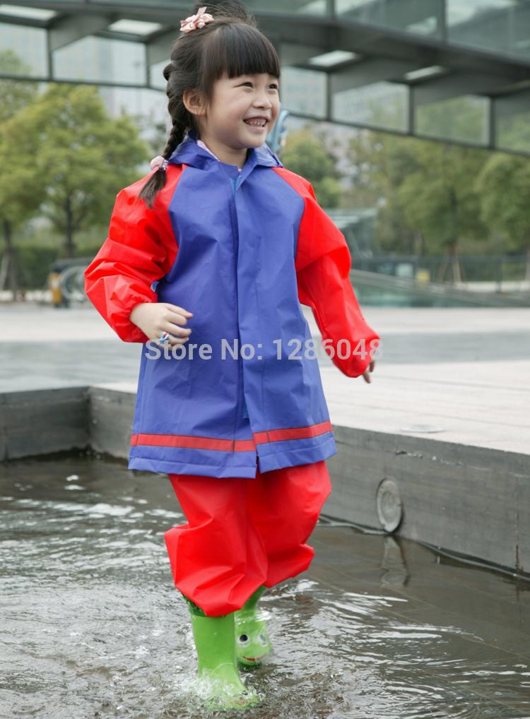 Free shipping eco-friendly waterproof plastic eva 2-piece children raincoat kids rainsuit with hood wholesale(China (Mainland))