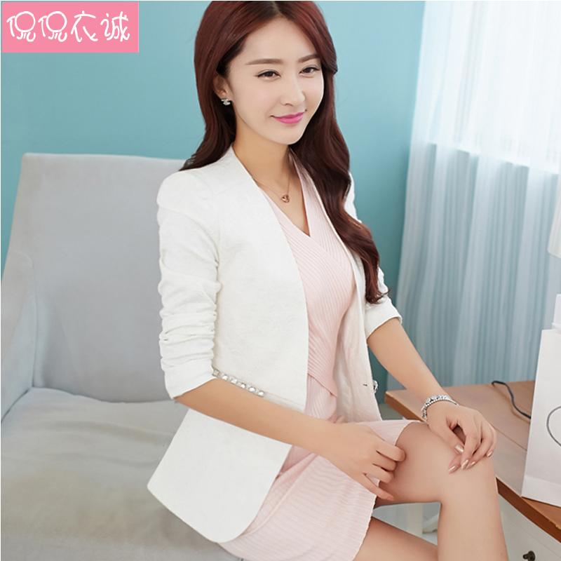 Одежда весна осень женское пиджак верхняя одежда приталенный компактный короткая дизайн жаккард женское костюм длинная - рукав белый женщины блейзеры