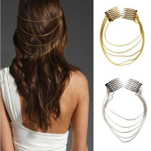 Free Shipping Punk Hair Cuff Pin Clip 2 Hair Combs Tassels Chains HeadBand Hair Accessories Silver/Gold(China (Mainland))