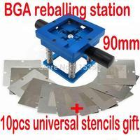 Free shipping Blue BGA reballing kit 90*90mm BGA reballing station with hand shank Gift 10PCS BGA Universal Stencil