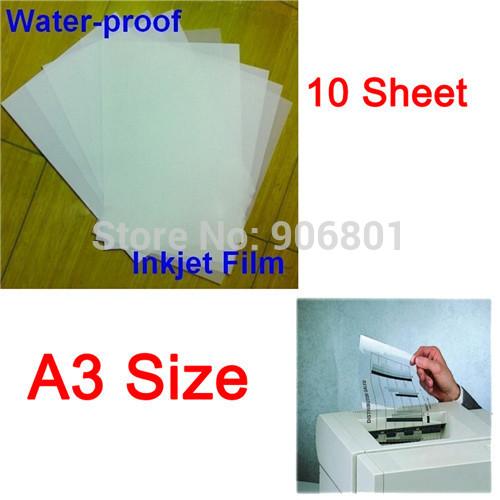 10 Sheet/Set A3 Waterproof Mil Inkjet Printer Transparency Film Paper Screen Printing FT-100 Printing Super Transfer Film(China (Mainland))
