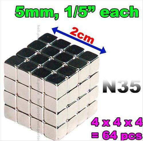 3200pcs 5mm x 5mm x 5mm Cube Magnet starke neodym Magnet N35 5x5x5mm NdFeB DHL(China (Mainland))