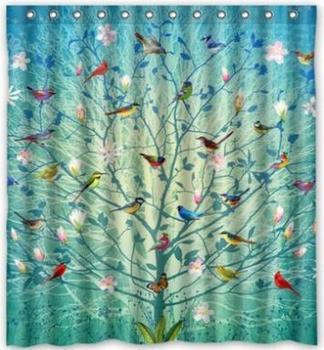 Unique design personnalis oiseaux sur l 39 arbre de vie - Rideau de douche personnalise ...