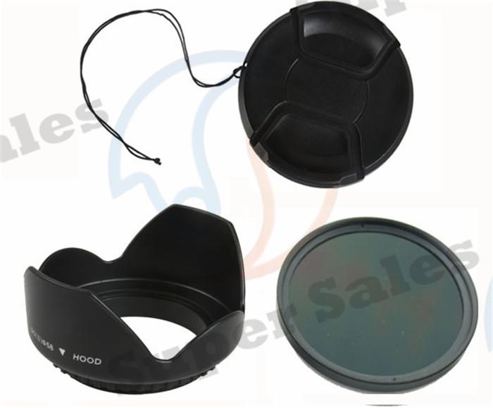 52MM Full ND color Lens filter + Lens Hood Snap-On Front Lens Cap for Nikon D3300 D3200 D3100 D3000 D5100 D5000 D7000(China (Mainland))