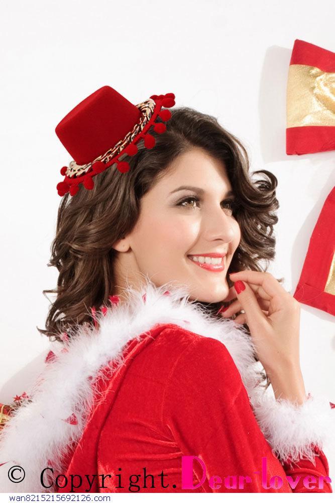 Fashion Accessories Hot Headwear Women red Mini Christmas natal mini Top Hat(China (Mainland))