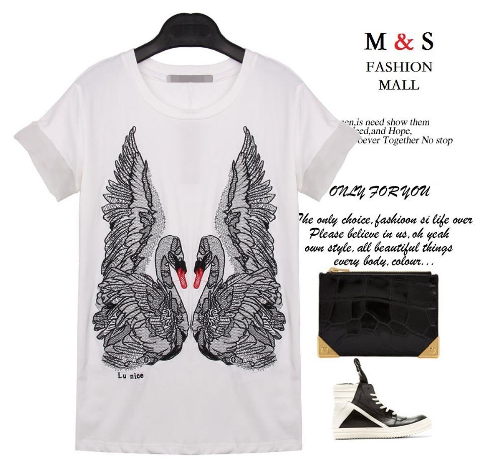 Melinda Style 2015 new women t-shirt short sleeves swan printing summer tops short sleeves white t-shirt free shipping(China (Mainland))
