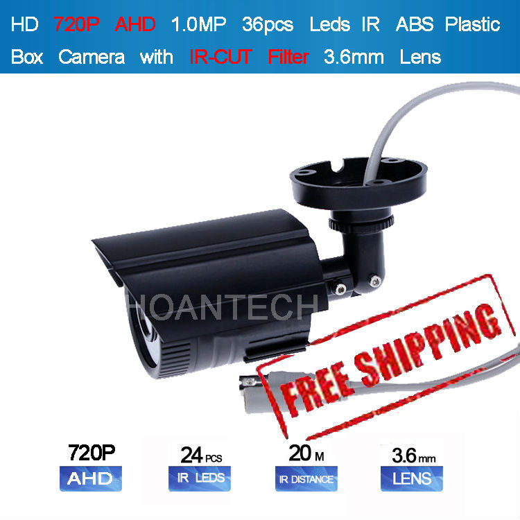 "New1.0 MP HD 720P Analog High Definition AHD 1/4"" CMOS 720P IR 20M with IR-CUT Filter 3MP ABS Plastic Box Camera Free Shipping(China (Mainland))"