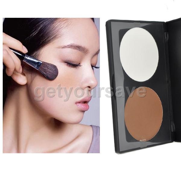 New Pro 2 Colors Concealer Face Powder Palette Makeup Beauty Contour Cosmetic
