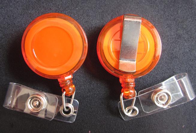 30pcs Glaze Badge Reels , (Transparent Orange) , key bak , Secure Clip-On Retractable pull , Dia 3cm wholesale(China (Mainland))