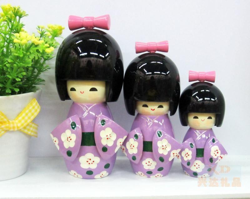 wholesale 3Pcs Oriental Japanese Kokeshi dolls wooden purple Girls 04(China (Mainland))