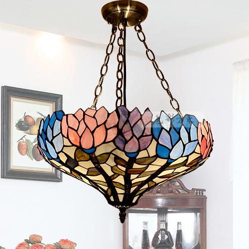 European Garden Tiffany pendant Mediterranean living room / bedroom / study painting lighting lamps to send LED(China (Mainland))