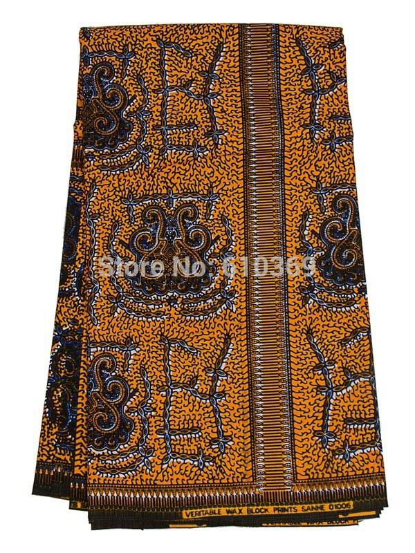 African Print Fabric Real Wax Gold Ankara Style Wedding Party Wearing rw01006(China (Mainland))