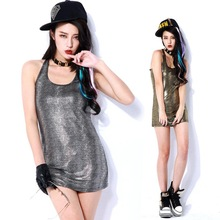 2015 Europe and America tide models metallic serpentine long section stretch vest straps bottoming Slim tank tops(China (Mainland))