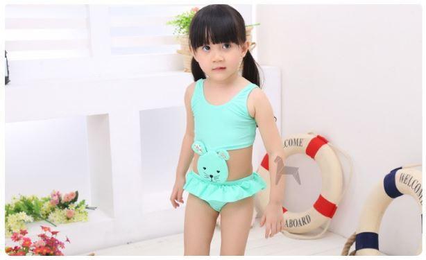Child swimsuit hot spring paragraph girl Toddler split swimwear swimming cap Small cat hot-selling(China (Mainland))
