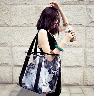 summer style Women Large Composite Bag Clear Transparent Tote Shoulder Bag Beach Handbag Shopping Bag(China (Mainland))