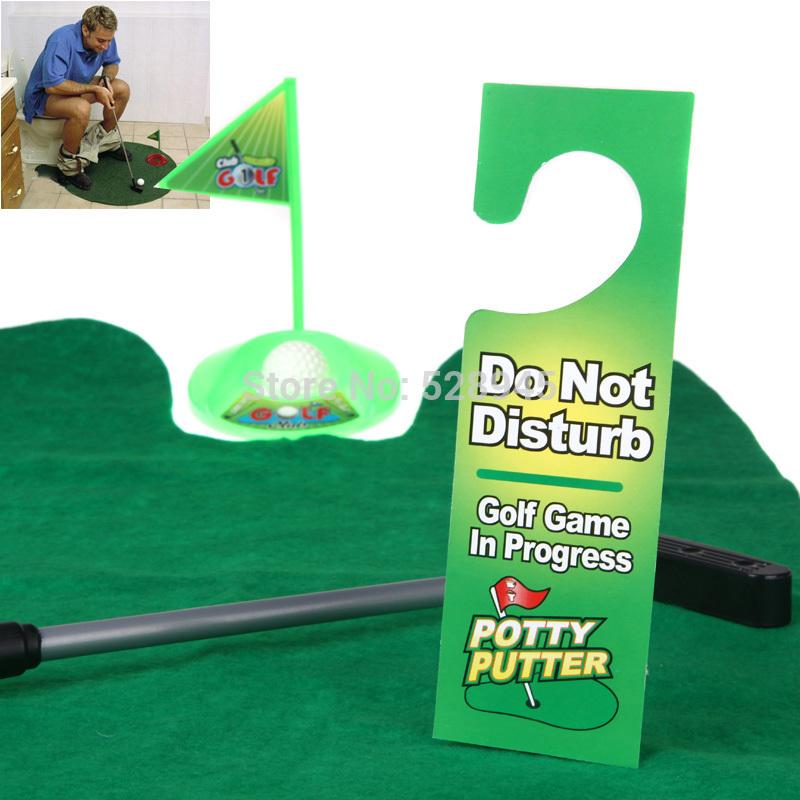 Funny Toilet Bathroom Mini Golf Mat balls Set Potty Putter Putting Game Novelty(China (Mainland))