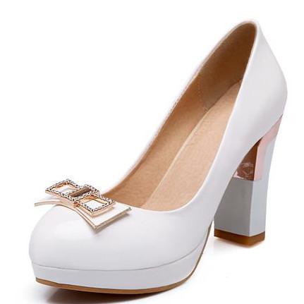 2014 new fashion round toe platform pumps ladies white blue beige shoes woman PU women pumps quality bridal wedding shoes(China (Mainland))